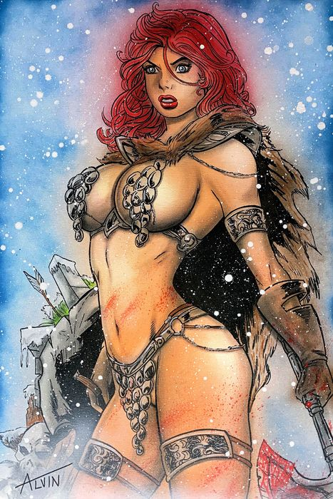 Red Sonja - barbarian girl in the snow By: Alvin Silvrants