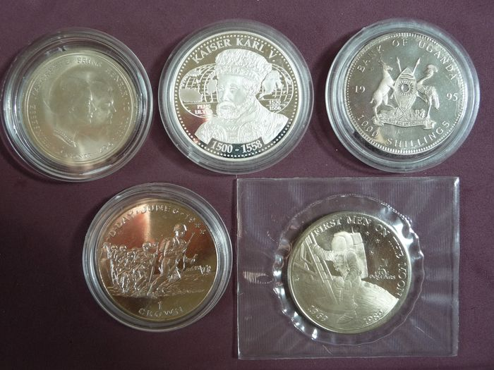 Wereld. Lot various coins + medal 1967/1996 (5 pieces) incl. silver