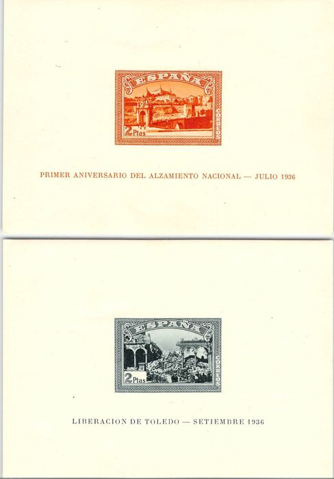 Spanien 1937 - H. 1st anniversary Spanish coup in July 1936. Imperforated. - Edifil 838/839