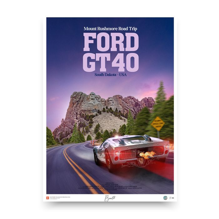 Poster/prent - Ford GT40 mkII - Mount Rushmore Road Trip - Ford, Ford USA, Shelby