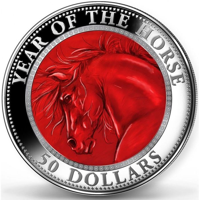 Cookeilanden. 50 Dollars 2014 Proof - Year of the Horse - 5 oz