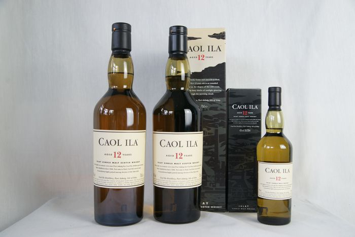 Caol Ila 12 years old - Original bottling - 70cl & 20cl - 3 sticle