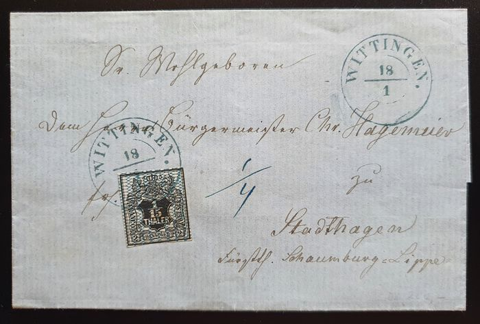Hannover 1859 - Cover from Wittingen to Stadthagen - Michel 11