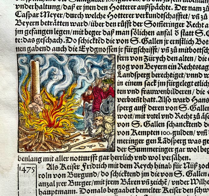 Heinrich Vogtherr (the Elder) (1490-1556) - Large folio with 3 woodcuts - Burning of Anabaptists, Siege of St. Gall (1491) Execution scene - First Edition - 1548 - 1548