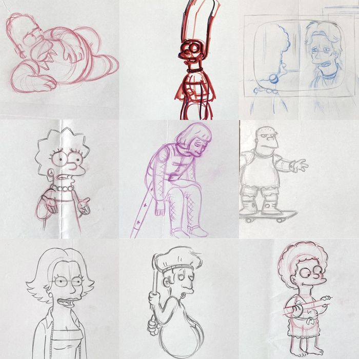 The Simpsons - Lot of 18 various originals animation production drawings - First edition