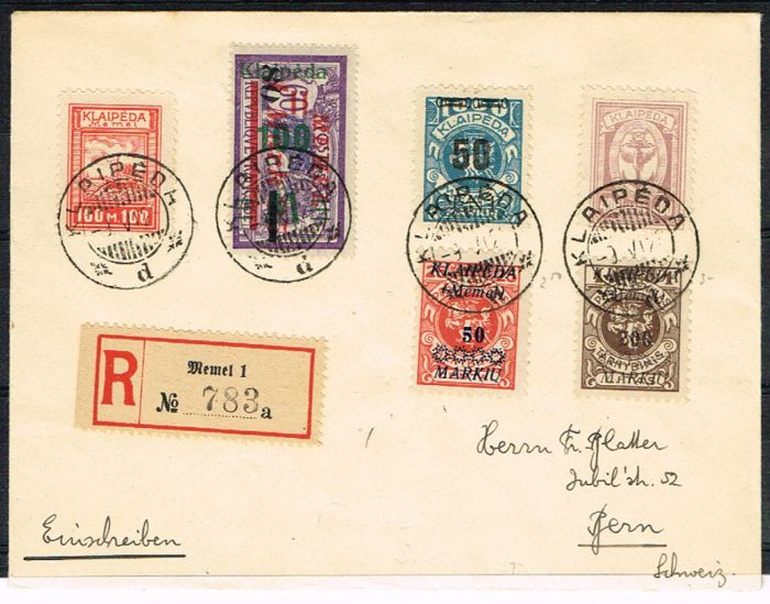 Memel 1923 - beautiful registered letter with mixed postage sent from Memel on 9.06.1923 to Bern - Michel 136-140-154-157-164-191