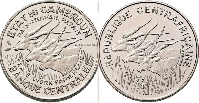 """Cameroon. 100 Francs 1966 and 1971  """"Antelopes"""" (2x Essai)"""