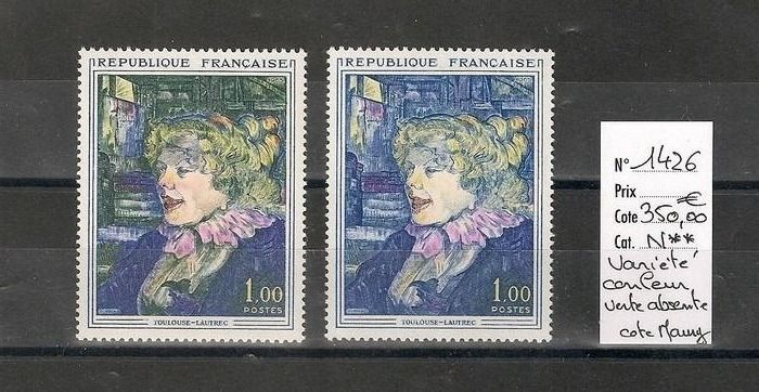 Francia 1965 - Toulouse-Lautrec, YT 1426, 'green colour missing' variety - Maury