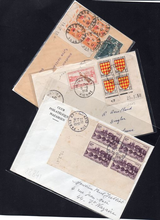 Francia - Very rare batch of 3 whole dated corners on letter, Superb!