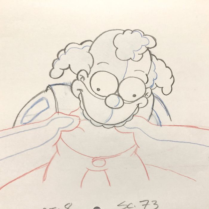 The Simpsons - RARE : Original Animation Production Drawing of Killer Krusty Doll EP14/SEASON15 - First edition - (2003)