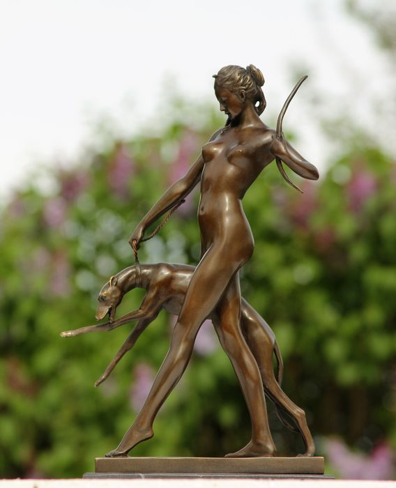 goddess of the hunt diana with greyhound all bronze - bronze marble