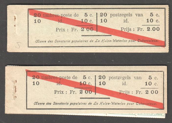 België 1914 - 2 complete booklets with dividers, including one without staples. - OBP / COB A10b