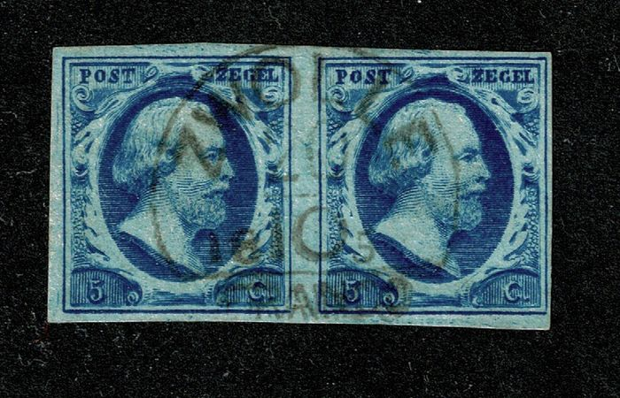 Paesi Bassi 1852 - First issue pair with half round cancellation Zwolle - NVPH 1