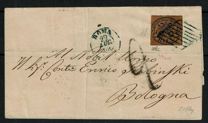 Italy Ancient States 1862 - Papal States, rare letter 3 baj 4Ac Rome Bologna first date of use - Sassone 4Ac