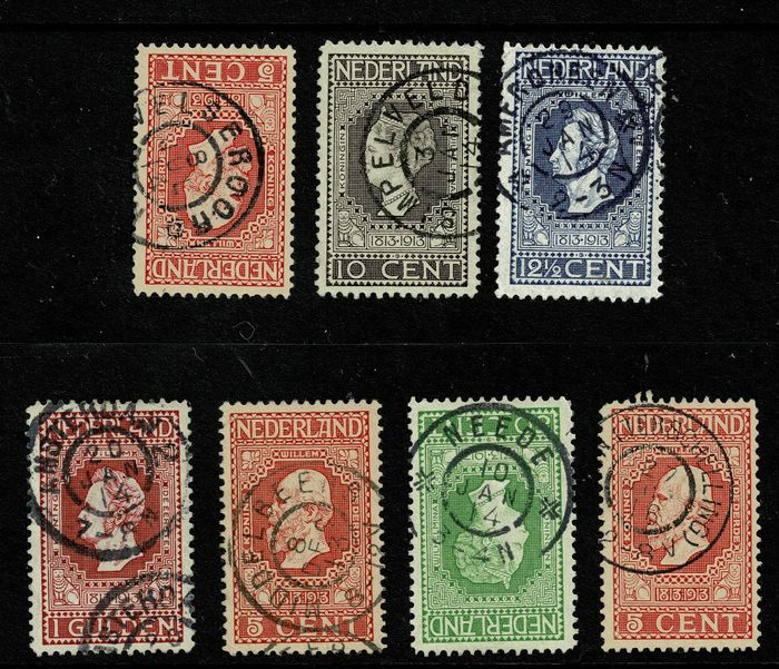 Paesi Bassi 1913 - Selection of large round cancellations on the Independence emission - NVPH 92, 93, 94, 97, 98