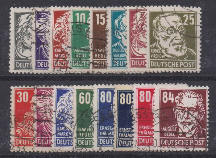 """RDT 1952 - """"Heads"""" complete with GDR watermark - Michel 327-341"""
