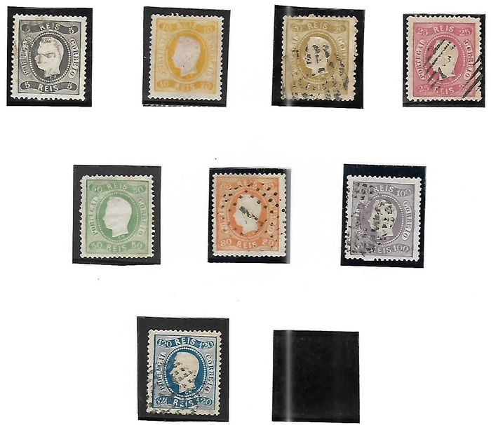 Portogallo 1867 - D. Luis curved strip perforated 1st choice and quality stamps Used and mint MNG - Mundifil 27,28,29,30,31,32,33,34