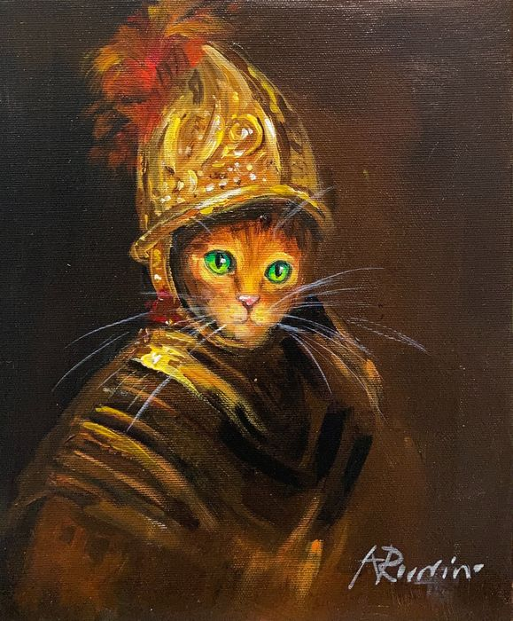 Adam Rawicz - Rembrandt's cat after The Man with the Golden Helmet