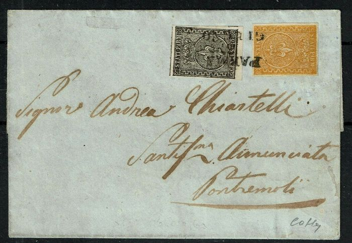 Italienische antike Staaten - Parma 1860 - Letter with cents 10 + cents 5 from Parma to Pontremoli - Sassone NN. 2, 6