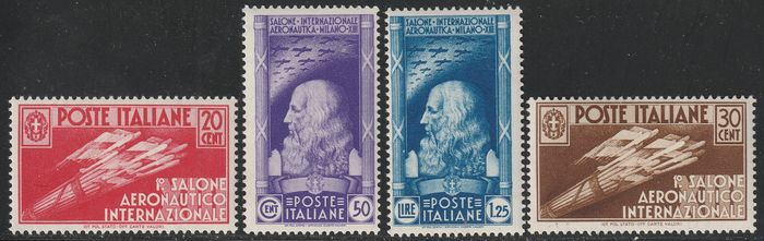 Italy Kingdom 1935 - International airshow, complete set, intact and rare - Sassone S81- NN.384/387