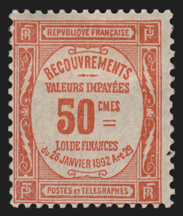 Francia 1908 - Tax stamps No. 47, 50 centimes red, mint* with hinge. - Yvert n° 47
