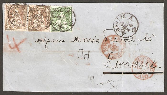 Zwitserland 1863 - 2.40 franking for letter bound for London. - Zumstein 34 + paire 36a / Michel 26 + paire 28a