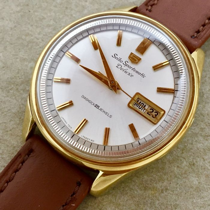 """Seiko - """"NO RESERVE PRICE"""" 5 Sportsmatic Deluxe ( SGP ) Fluted Inner Bezel - 7619-7010 - Homme - 1960-1969"""