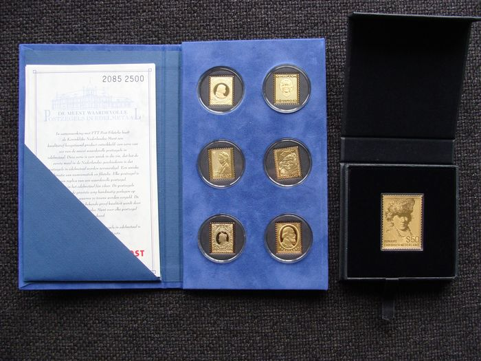 Paesi Bassi e oltremare - Golden stamp 50 Dollar 'Rembrandt van Rijn' + 'The most valuable stamps in precious metal'