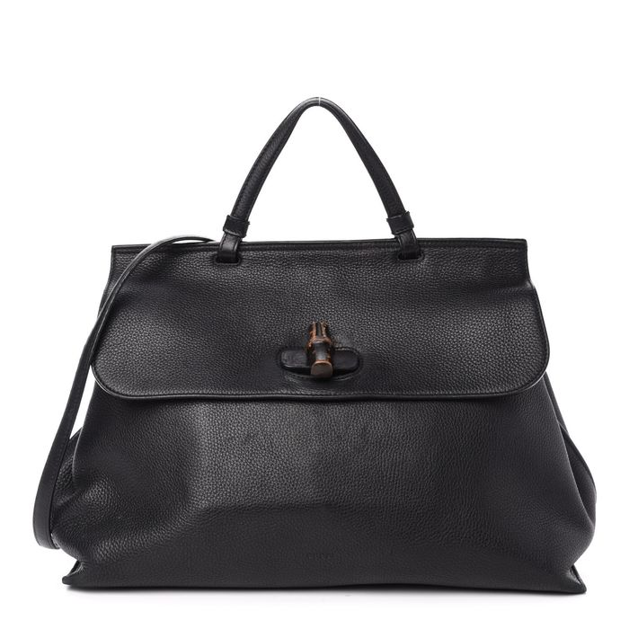 Gucci - Pebbled Calfskin Large Bamboo Daily Top Handle Bag Clutch