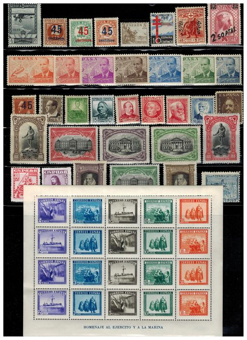Spagna 1916/1948 - Batch of stamps of the 1st centennial. Complete sets. - Edifil entre FR. 11 y 1034