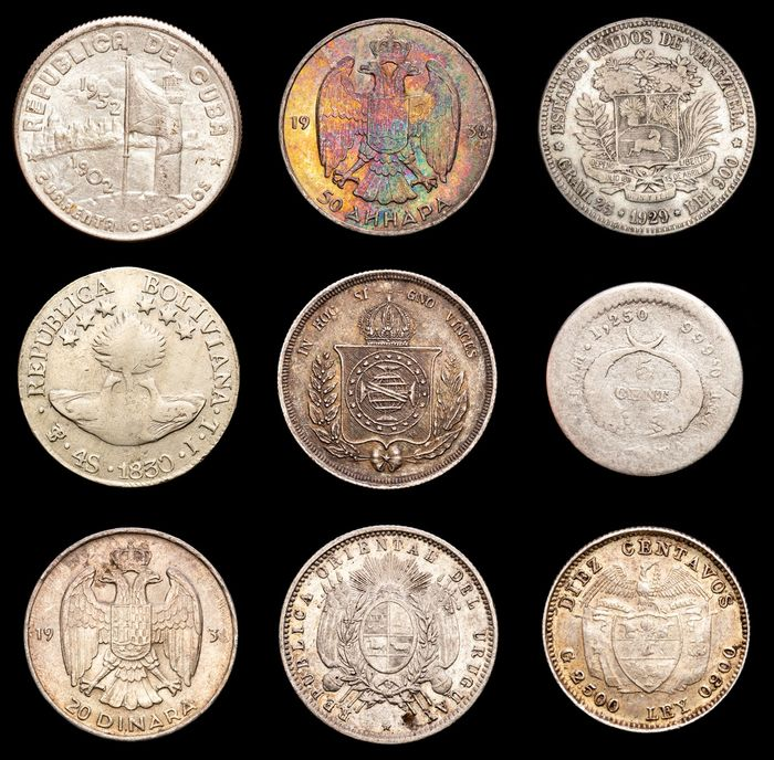 Wereld. Lot various Worldcoins 19th-20th century (9 pieces)