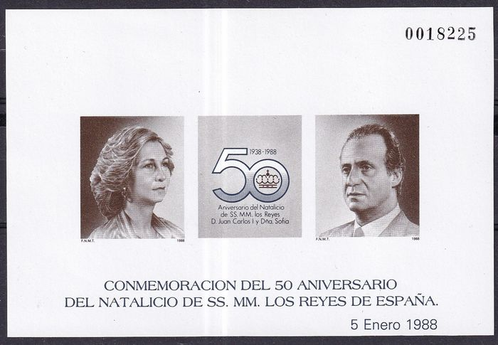 Spagna 1987/1989 - Batch of deluxe proofs no. 12/13, 15/17 and 19 - Edifil 12, 13, 15, 16, 17, 19