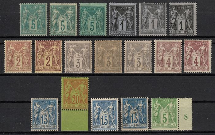 Francia 1876/1890 - Type Sage, lot of 18 stamps with shades, mint *. - Yvert entre n° 75 et 106