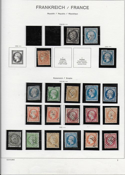 Francia 1849/1862 - Set of the first classics - Yvert N° 3 / 24