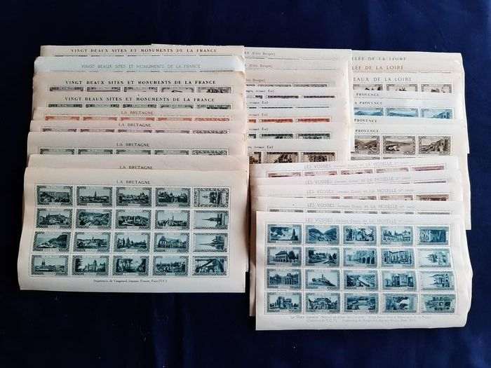 Francia - Tourist Publicity vignettes/sealing stamps (29 sheets of twenty stamps, atotal of 580)