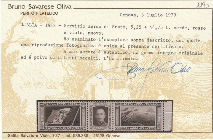 Koninkrijk Italië - Staatsdienst 1933 - North Atlantic Cruise Triptych 50 l. centred sheet margin watermark Letters 10/10  intact, rare and - Sassone N.1a