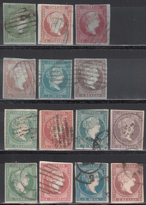 Spagna 1855/1856 - Isabella II, complete sets, different types of watermarks, ribbons, crossed lines - Edifil 39 / 42, 40A, 43 / 46, 47 / 50,