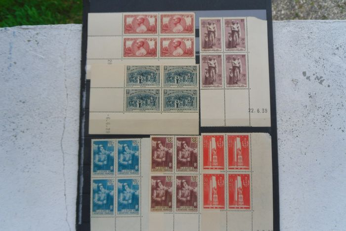 Francia 1938/1940 - 6 lovely old blocks of 4 stamps, dated corners, with good values. - Yvert 444, 447, 386, 387, 395, 456