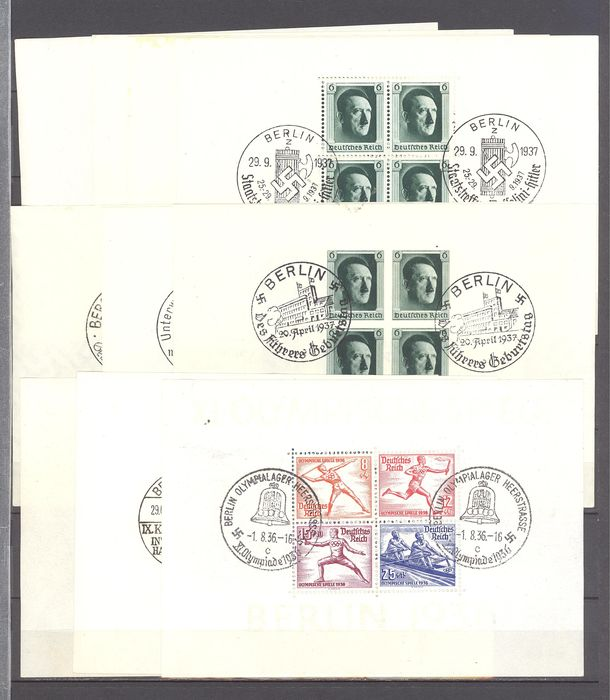 Impero tedesco 1936/1937 - 10 German Reich blocks with special cancellations