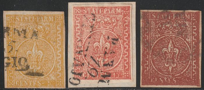 Italian Ancient States - Parma 1853/55 - 2nd issue complete set with good margins, used and rare - Sassone NN.6/8