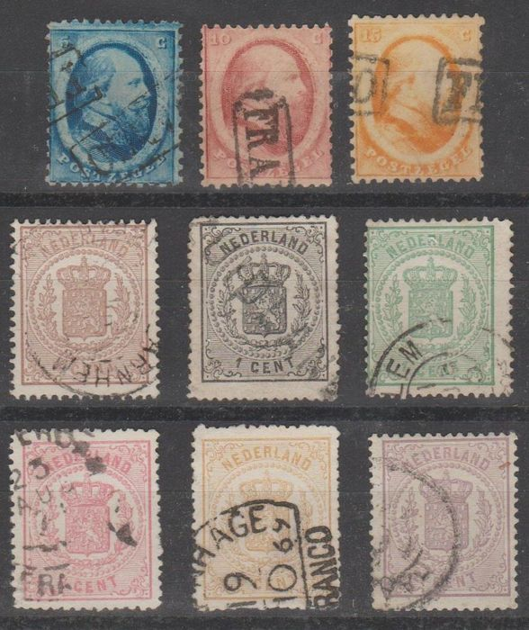 Paesi Bassi 1852/1871 - King Willem III and National coat of arms - NVPH 4/6 + 13/18
