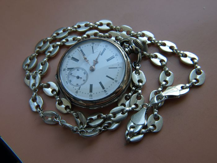 James Calame-Robert - silver pocket watch + chain    NO  RESERVE PRICE - 463381 - Unisex - 1850-1900