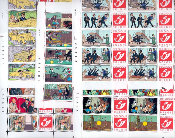 Belgien 2001 - Five complete sheets with duo stamps Tintin