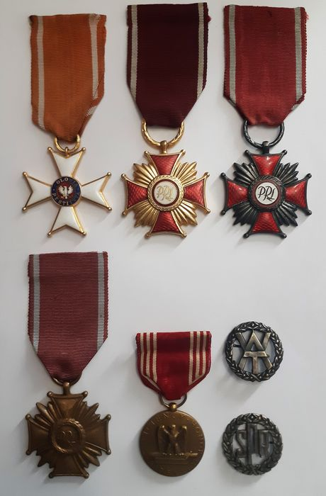 Poland - Army/Infantry - Award, Badge, Medal, Four Polish and one USA medals and two Polish badges.