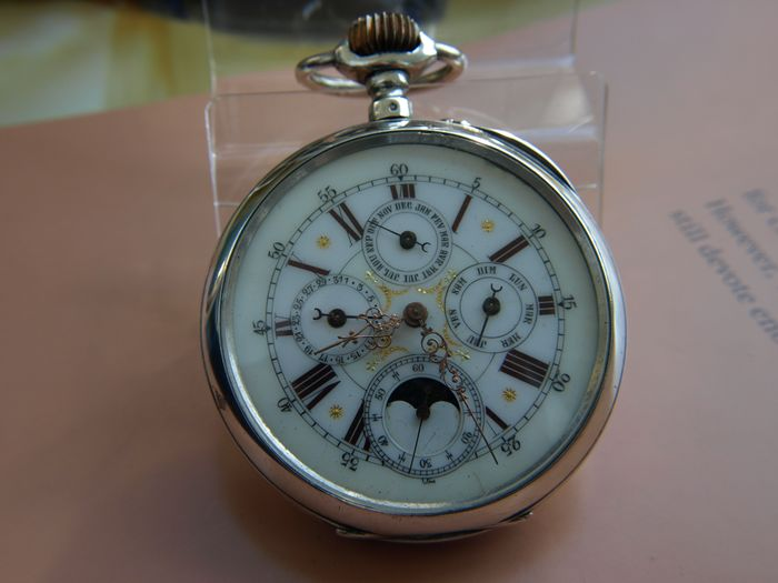 Pocket watch with moon phases and triple calendar. - Goliath 64mm - 1 - Uomo - 1850-1900