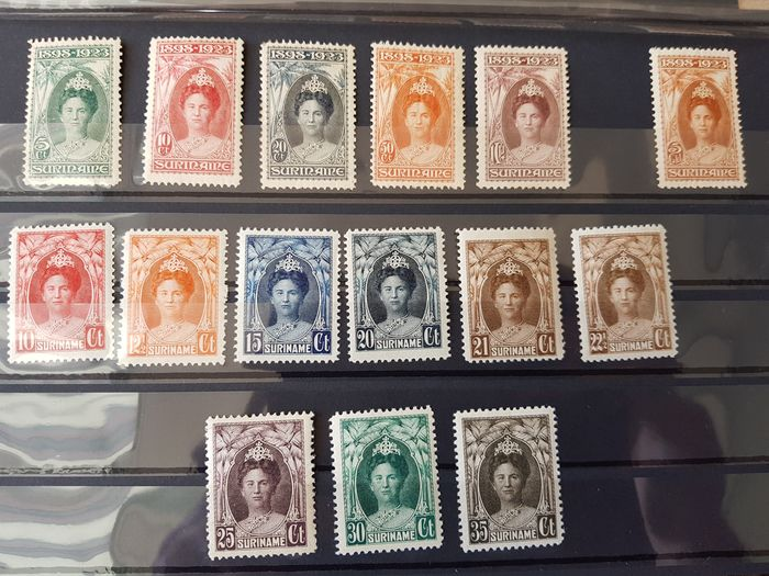 Suriname 1923/1930 - Government Jubilee Wilhelmina and changed Jubilee type - NVPH 104/108, 110, 118/126