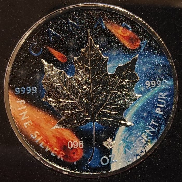 Canada. 5 Dollars 2021 'Maple Leaf - Glowing Galaxy III - The Dark Numbering' - with Box and Certificate - 1 Oz
