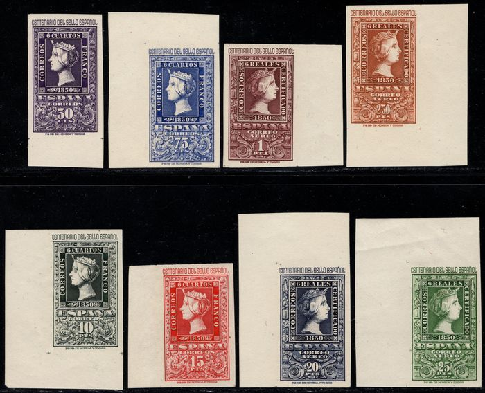 Spagna 1950 - Centennial of the First Spanish Stamp. Complete set - Edifil 1075/1082