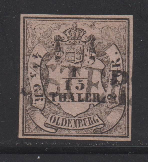 """Oldenburg 1852 - """"Coat of Arms"""" 1/15 Th. in impeccable preservation - Michel 3 II"""