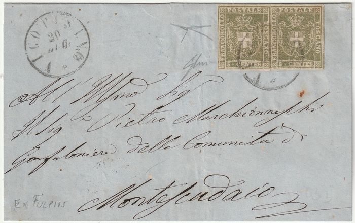 Italiaanse oude staten - Toscane 1862 - Provisional Government 5 c. pair on letter from Vico Pisano pt. R1 to Montescusaio, very rare and - Sassone N.18b